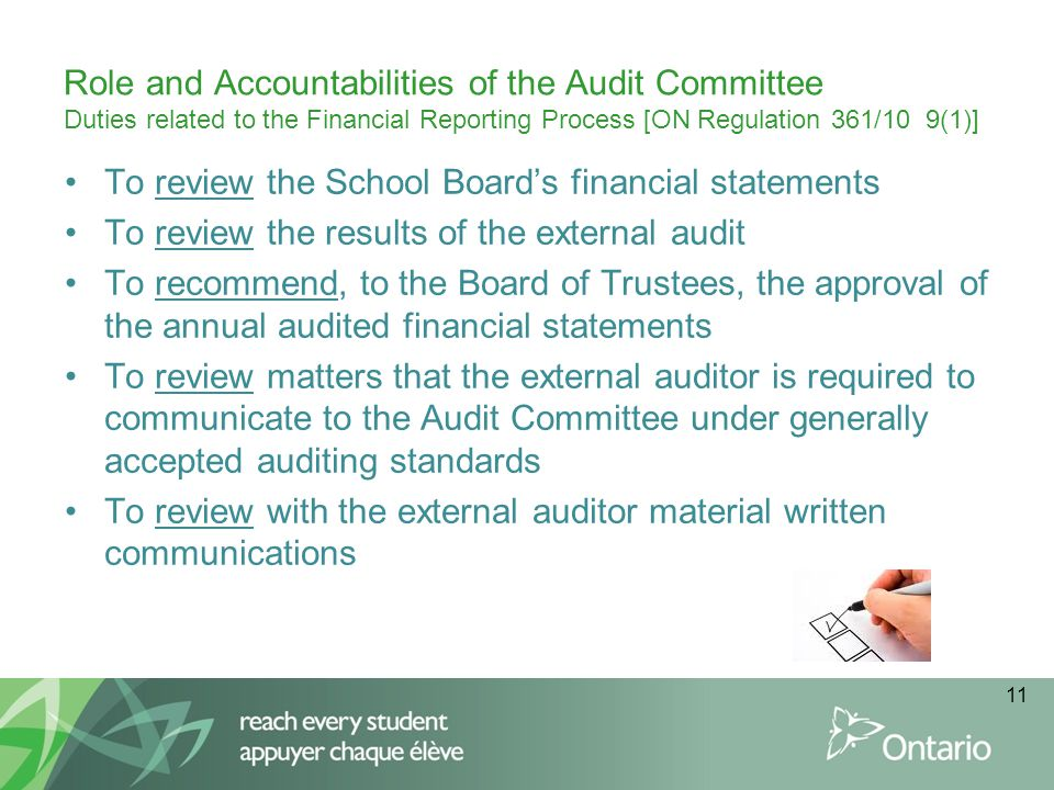 Role and Accountabilities of the Audit Committee Duties related to the Financial Reporting Process [ON Regulation 361/10 9(1)]